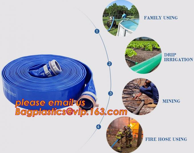 Liquid PVC Layflat Discharge Tubing High Pressure Water Hose 40MM For Agriculture Project