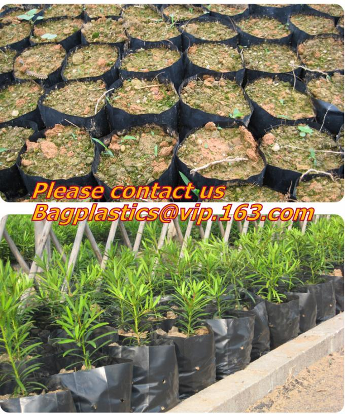 PLASTIC GROW BAGS, NURSERY PLANTER, SEED HYDROPONICS, FLOWER POTS, BLACK Grow Bags, Waterproof Garden Patio Plant Flower
