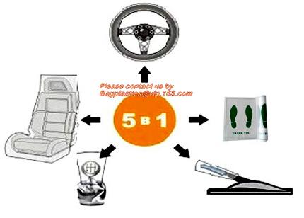 5 in 1 clean kits, auto clean kits, auto cleaning kits, Disposable PE Plastic Seat Car Cover Package, 5-in-1 Automotive