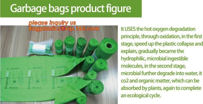 China manufacturer 100% biodegradable singlet bags with EN13432 BPI OK compost home ASTM D6400 certificates, BIO, ECO