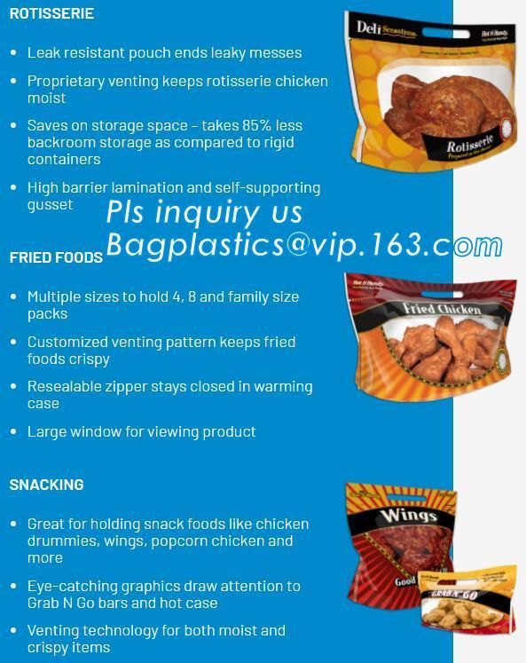 chicken plastic bags for hot roast chicken packaging,with handle and zipper,anti-fogging, Turkey chicken roasted plastic