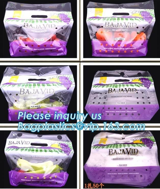 eco-friendly slider ziplock fruit bag with air holes for grape packaging bag, slider ziplock storage frozen bag with OEM