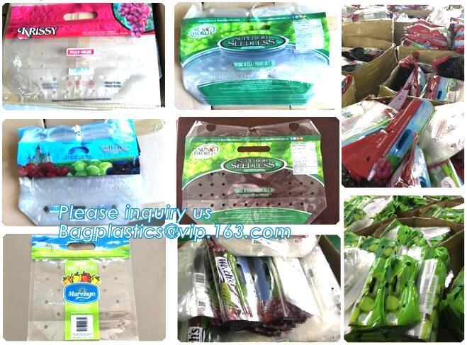 Resealable Vent Hole Plastic Bag For Fruit With Slider, OEM Printed Logo food grade Slider Storage Bags, Custom grape/fr