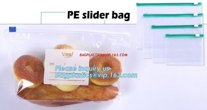 slider ziplock bag doypack zipper/ECO-friendly slider bag, Slider Bags Stand Up Slider Bags For Food, frosted zipper loc