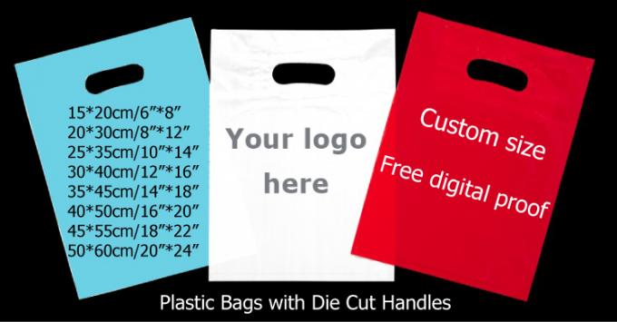 Custom print ldpe hdpe die cut handle carry poly plastic merchandise gift packaging shopping bag with logo