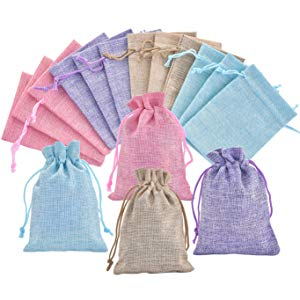 Burlap bags with drawstring