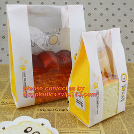 China Customize 3 Side Visible Clear Window Offset Printing Bakery Bags, Customize V Bottom with Clear Window Food Grade Toast supplier