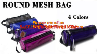 China Custom cotton printed plastic waterproof pencil bag PVC pencil case with zipper, round mesh bags, supplier