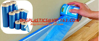 China plastic drop cloth, PE drop cloth, plastic masking film, Taped clear HDPE plastic masking film drop film, House Painting supplier
