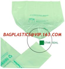 China cornstarch made 100% eco friendly direct manufacturing factory compostable garbage bags on roll with drawstring supplier