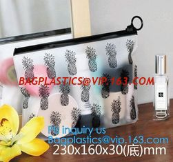 China Transparent Sundry Kit PVC Cosmetic Bag, Bag with Plastic Zipper and Slider Wash bag, slider lock zip pouch travel cosme supplier