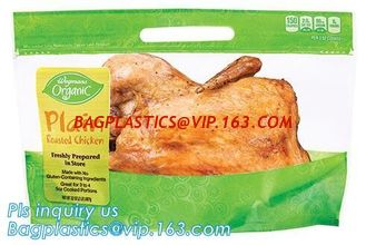 China chicken plastic bags for hot roast chicken packaging,with handle and zipper,anti-fogging, Turkey chicken roasted plastic supplier