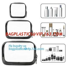 China cusotm logo rope handle clear pvc bag with zipper, handle transparent cosmetic bag, Ziplock Make Up Travel Bag, Organize supplier