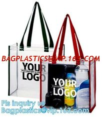 China Promo PVC Plastic Shopping Handle Bag, Handling clear pvc blanket bags, handle reusable clear vinyl pvc cosmetic bags fo supplier