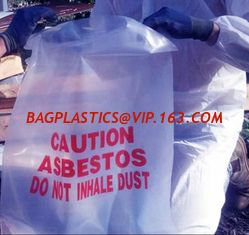China Asbestos Removal, disposable plastic yellow poly asbestos warning printed burial bags, Asbestos clear plastic packing ju supplier