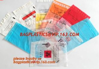 China Laboratory Medical biohazard lab plastic specimen transport bag with double pouches, embossed reclosable biohazard speci supplier