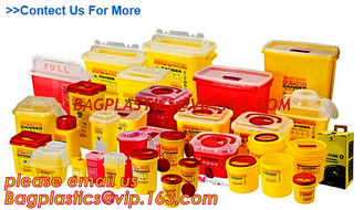 China Yellow Plastic Medical Sharp Container for needles, Health and Medicals use disposable 5L Sharp container, sharp contain supplier