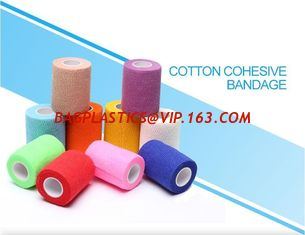 China Light weight cotton cohesive medical bandage, Medical suppliers colored cotton self adhesive cohesive elastic bandage supplier