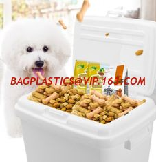China Pet food plastic pails with lid, dog /cat food plastic bucket/barrels, square plastic pail bucket with handle and lid fo supplier