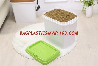 China food grade Pet Food Barrel,dog food bucket, Eco-friendly Metal Dog/cat Food Bucket With Scoop feed for poultry, barrel supplier