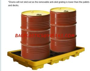 China Detachable plastic 4 drum oil spill pallet, 1300*660*150 mm 2 drum spill containment pallet, Nestable 2 drum spill conta supplier
