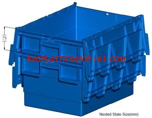 China Heavy duty stackable attached lid turnover box, Stackable and nestable plastic shipping tote box for storage or moving supplier