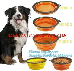 China Food Water Feeder Silicone Portable Folding collapsible dog bowl, pocket foldable silicone travel pet food dog bowl, bag supplier