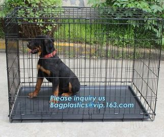 China Scratch Resistant and Bite Resistant Bold Foldable Pet Wire Dog Kennels Cages, Folding Steel Dog Cages With Plastic Tray supplier