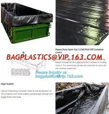 China 20 yard drawstring black dumpster container liners for waste transport,stripe high quality waterproof bulk dumpster cont supplier