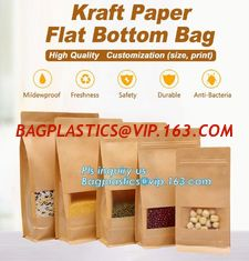 China Kraft paper 3 side seal bag,kraft flat bottom bag, waterproof, moisture resistant, window bag, flat bottom bag,zipper se supplier