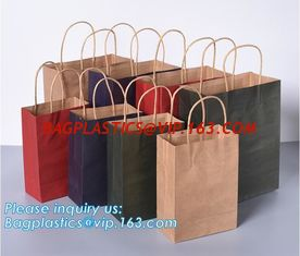 China High Brightly Brown Kraft Paper Bag With Handle Custom Print Logo,Kraft Paper Shopping Bag with Logo bagplastics, bageas supplier