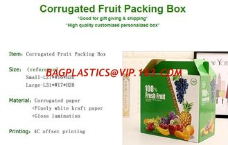 China corrugated fruit packing box, kraft paper, gloss lamination, offset printing, foldable box,flower cone,flowral packaging supplier