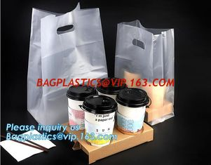 China Disposable cup carrier bag, carry bag, cup handle bag, handy bag, die cut bag, handle carry bag, grocery bag, bakery pac supplier