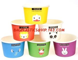 China Gelato Paper Cup Icecream Paper Cup With Lids,4oz paper ice cream single serving cups,Logo Printed Disposable Icecream P supplier