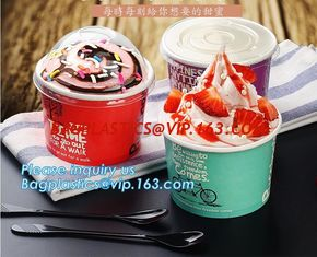 China A series of custom logo printed double PE coated icecream paper cup with lid from Wuhan manufacturer bagplastics bagease supplier