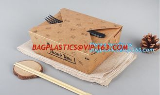 China High Quality Custom PE Coated Disposable Kraft Paper Lunch Box,Rectangle Folding Take Away Boxes/Lunch Box/Kraft Paper F supplier