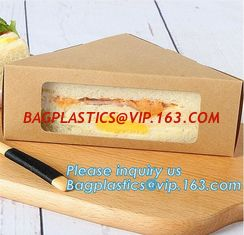 China Kraft Triple Sandwich Wedge Box with Window Recyclable Paper Lunch Container Boxes,Promotional Triangle Sandwich Paper B supplier