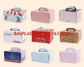 China Cake Box Cake Packaging Container Food Paper Gift Box with Handle cardboard box,Cheap Customized Paper Cardboard Birthda supplier