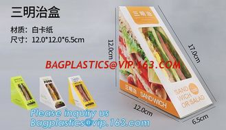 China kraft paper sandwich box with window ,triangle sandwich box for packaging,Cardboard Box With Clear Window Burger Sandwic supplier