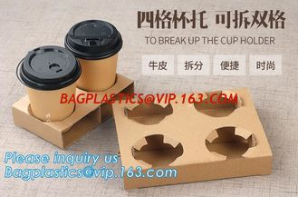 China Cardboard paper coffee cup holder carrier,2 pack coffee cup drink paper carriers,Brown paper coffee cup drink carriers w supplier