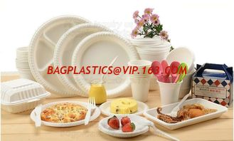China 100% Biodegradable and compostable sugarcane pulp packaging disposable paper plate,sugarcane baggase oval paper plate ba supplier