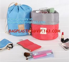 China waterproof big container cylinder cosmetic make up bag with 3 mini bags, cosmetic bag, make up bag, bagplastics bagease supplier