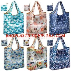 53bded11b ECO Friendly nylon foldable reusable grocery bag 5 cute designs folding  shopping tote bag fits in pocket bagease package