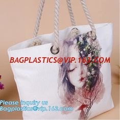 China Promotional custom portrait printing lady shoulder bag,cotton canvas shopping tote bag with cotton rope handle bagease p supplier