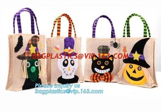 China eco-friendly portable halloween linen tote jute bag with logo custom, ester, wedding, burthday, party, grand event happy supplier