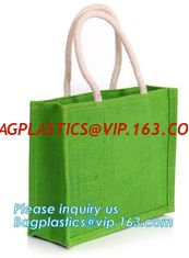 China Natural Burlap Tote Shopping Bags Reusable Jute Bags with Full Gusset with Handles Laminated Interior tote shopper pack supplier