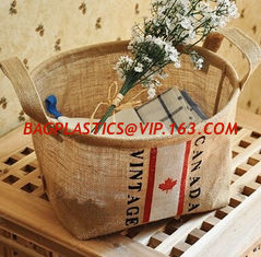 China Amazon Hot Sales Fashion Household Foldable Eco Friendly Durable Jute Storage Organizer Basket,large capacity Cotton Lin supplier