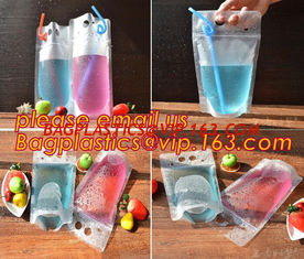 China Juice Drink Pouches Heavy Duty Hand-held Reclosable Zipper bags Stand-up Heat-proof Plastic Pouches with straw pouch sac supplier
