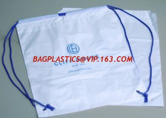 China Biodegradable drawstring laundry poly bag with printing,Logo Printed Poly Drawstring Hotel/Travel Laundry Plastic bag supplier