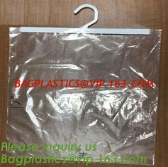 China self adhesive zipper hanger hook plastic bags for garment,Type hanger hook plastic bag,zipper bag manufacturers,Hook Zip supplier